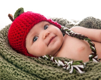 Apple Hat - Baby Apple Hat - Crochet Apple Hat - Newborn apple hat - Baby hat - Teacher photo prop - Apple Photo Prop Hat - Fall photo prop