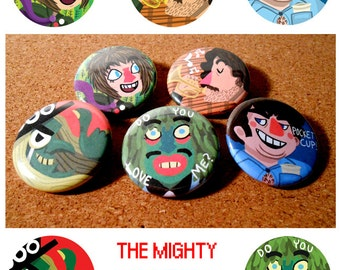 The Mighty Boosh Button Set