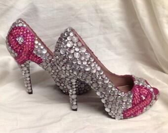 Breast cancer ribbon rhinestone encrusted pink heels