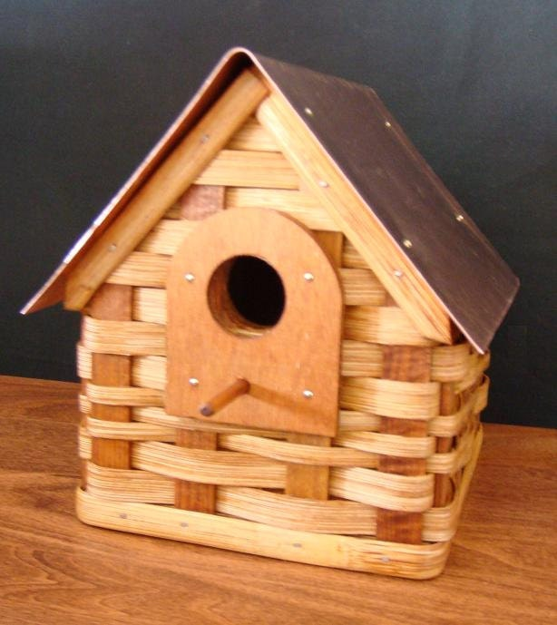 Amish Woven Basket Bird House With Copper Roof