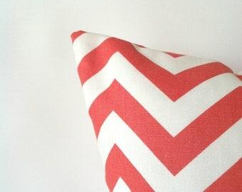 Coral Pillow Covers - 16 x 16, Set of Two, Coral Modern Cushion Covers, Coral Cushions, Chevron Pillows, Dorm Pillows, Ocean Beach Pillows