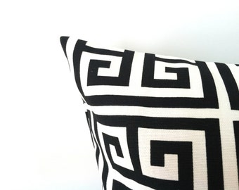 Black & White Pillow Cover - 16 x 16, One, Geometric Greek Key, Black and White Pillow, Black Pillows, Black Cushion Covers, Modern