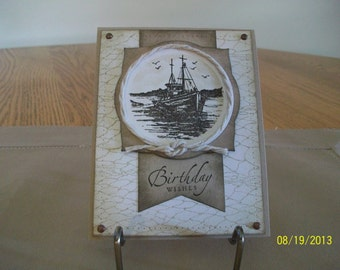 Ship on the Sea Birthday Card