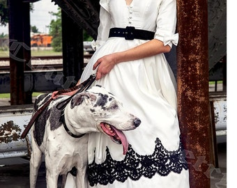 D041 - Victorian Ivory Dress with Black Lace Trim