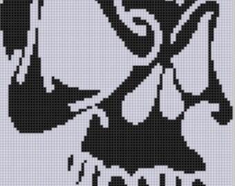 Skull Fangs Cross Stitch Pattern