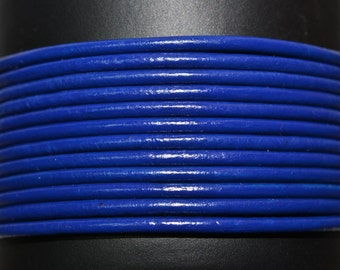 Royal Blue / 2mm Leather Cord / leather by the yard / round leather cord / genuine leather / necklace cord / bracelet cord