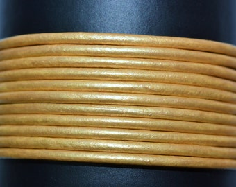 Gold  / Metallic / 1.5mm Leather Cord / leather by the yard / round leather cord / genuine leather / necklace cord / bracelet cord