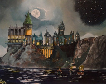 "Handpainted Depiction of Hogwart's Castle 16""x20"""