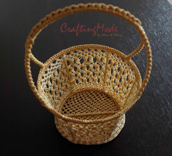 Handmade Basket Tutorial : Macrame basket nice handmade by craftingmode on etsy
