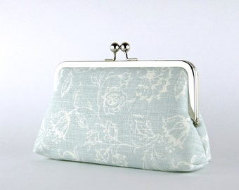 Wedding  Clutch, Wildflowers in Ice Blue Clutch, Silk Lining, Bridesmaid Gift, Bridesmaid clutch, Ice and Blush collection