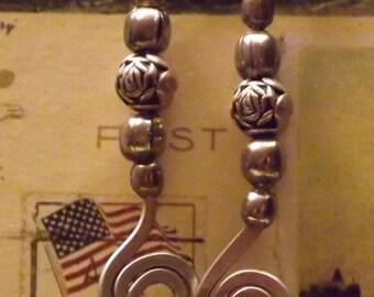 coated copper silver bead ear rings