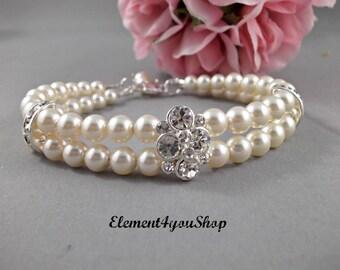 BRIDESMAID BRACELET, Bridal Bracelets, Adjustable Bracelet, Bridal Party Thank You Gift, Rhinestone two 2 strands bracelet Wedding jewelry