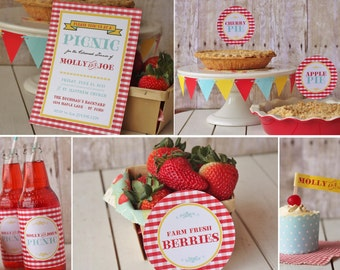 Retro Picnic Party Printable Set - red yellow aqua