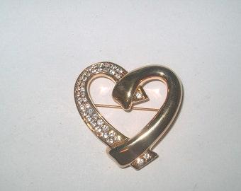 Swarovski  Swan Signed Heart Brooch Pin, Vintage Costume Jewelry, Crystals & Goldtone Metal, WAS 25.00 - 25% = 15.00