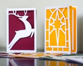 Christmas cards, paper cut, 5 card value pack various designs