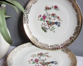 4 X Antique French Decorative PLATES by LIMOGES ~ Fine China Dished Plates ~ Bird Plate with Gold Trim ~ Antique Porcelain ~ - FeatherAFrenchNest