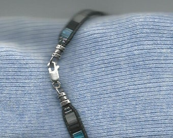 Leather and Tila Handmade Bracelet
