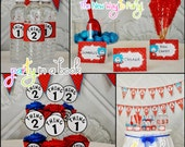 PARTY in a BOOK printed and assembled Cat in the hat dr seuss banner and tent cards