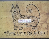 "Primitive Folk Art Print ""Funny Little Folk Art Cat"" Copyright Lithograph Print of Original Handcrafted Primitive Folk Art Cat Stitchery"