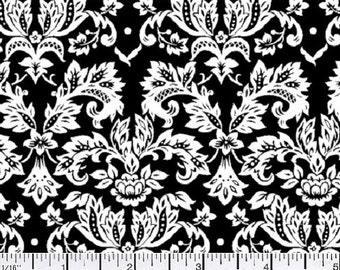 Black & White damask fabric per yard/ Black and white cotton print damask/ Black and white floral fabric