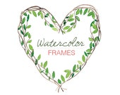 Digital Clip Art Instant Download PNG Frames Watercolor Heart Leaves Branch Love Green Yellow Red Brown