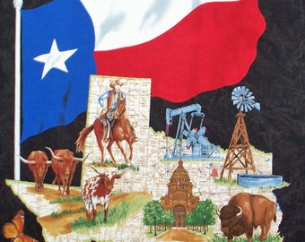 """Lone Star Map Black cotton panel -- approximately 23"""" x 44"""""""