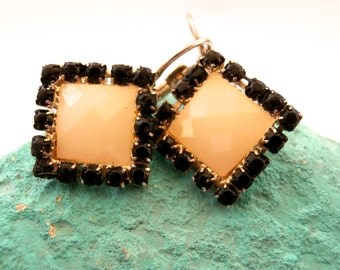 Square Earrings - Lever Back Yellow & Black