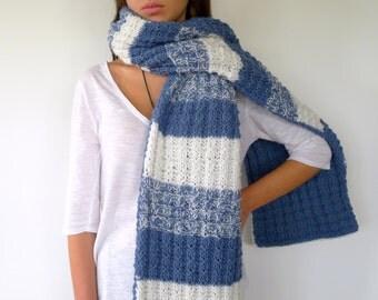 Bufanda doble azul y blanca