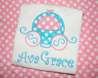 Cinderella Carriage Applique Tee with Name Disney Vacation Personalized Custom Tee
