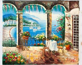 Mediterranean Seashore View -- Original Oil Painting on Canvas -- 20 x 24