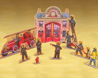 Fire Service Red Alert play set printable