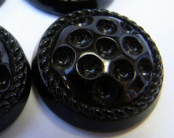 Vintage black glass cabochons with indentations for crystal chatons - 2 pieces
