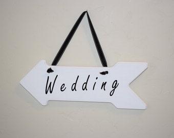 Wedding arrow sign, wood, vinyl, black and white