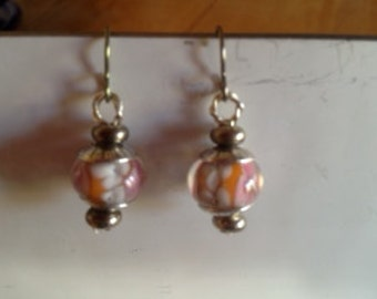 Flower glass bead and Sterling Silver Bead Cap Earrings