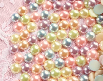 100 Pcs 10mm Pastel Round Flatback Pearls