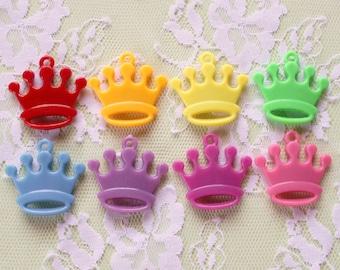 16 Pcs Plastic Crown Charms -31x30mm