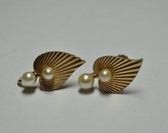 Signed Krementz Gold Tone Bleeding Heart Faux Pearl Earrings