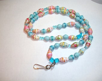 Paper Bead Lanyard, Badge Holder Handmade Accessories Jewelry Blue w/a splash of Red