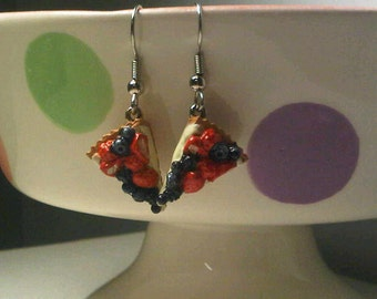 Mixed Berry Pie Slice earrings on silver French hooks