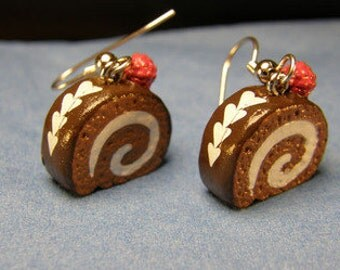 Chocolate Raspberry Swiss Roll earrings on silver French hooks