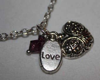Heart Necklace, Love Charm Heart Necklace, Swarovski Crystal, Silver Plate Chain with a Lobster Claw Clasp