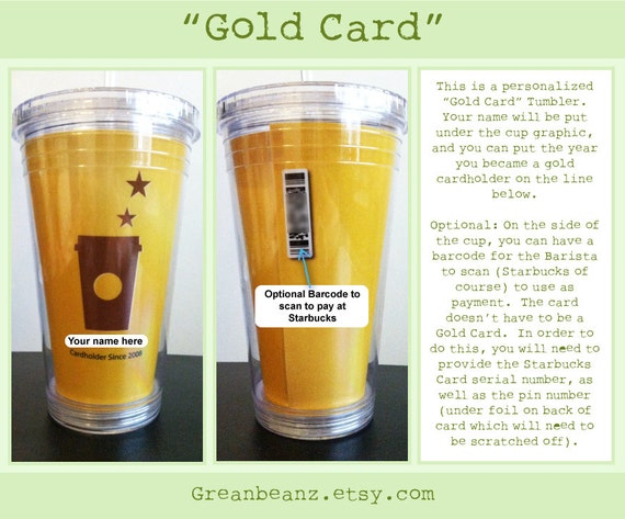 Items similar to handmade personalized starbucks gold card for Starbucks personalized tumbler template