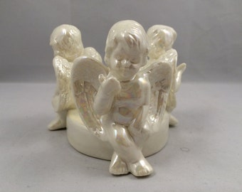 Cherub candle holder, iridescent cherub candle holder, lusterwate cherub candle holder, 3 cherub candle holder