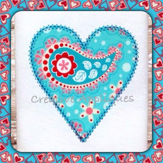 Valentine heart vintage stitch digital machine embroidery