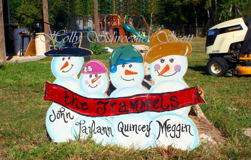 Personalized Snowman Family Yard Art
