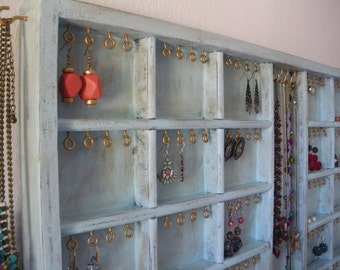 Light blue - aqua jewelry organizer display with gold hooks - Earrings, necklaces holder - Wall mounted - Antique printer drawer looking