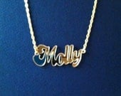 Mirrored Gold Finish Custom Personalized Name Pendant