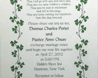 50 Celtic Irish Shamrock Invitations and 50 RSVP Cards for Weddings or any Occasion Customized for You