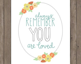 Always remember, you are loved. Floral border.   8x10 digital printable.  Home decor/nursery print.