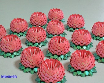 Lot of 15pcs Size Small Deep Pink Origami Lotus (RS Paper Series). #FLT-29.